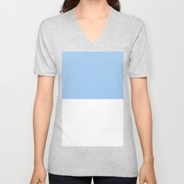 White and Baby Blue Horizontal Halves Unisex V-Neck