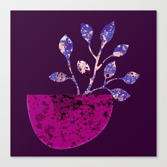 pot and branch on purple Canvas Print
