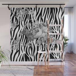 Vintage elegant black white floral zebra animal print collage Wall Mural