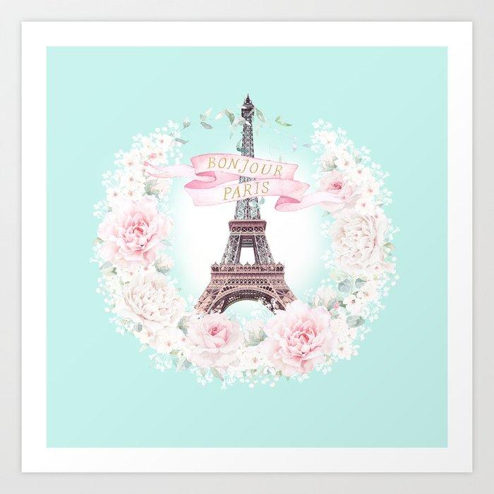 Eiffel Tower Bonjour Paris wreath Art Print