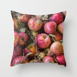 Pile of freshly picked organic farm apples with imperfections Throw Pillow