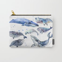 Whales, Whale design, whale wall art, sea, marine aquatic animal art, school learning wall Carry-All Pouch