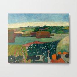 """Paul Gauguin """"Les meules ou Le Champ de pommes de terre or Haystacks in Brettany"""" Metal Print"""
