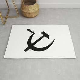 Hammer And Sickle Russia Emblem Silhouette Rug