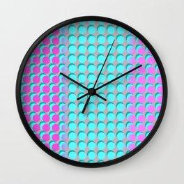 Pink & Aqua Spots on Taupe Wall Clock