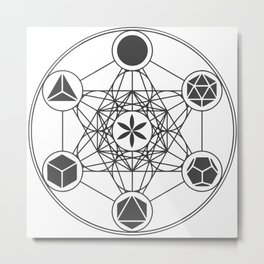 Metatron's Cube with Platonic Solids and Seed of Life Metal Print