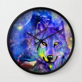 NEBULA WOLF OF MY DREAMS VIOLET BLUE Wall Clock