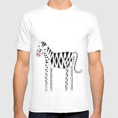 Long legs Zebra MEDIUM White Mens Fitted Tee