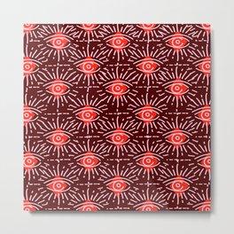 Dainty All Seeing Eye Pattern in Reds Metal Print
