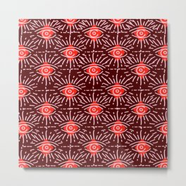 Dainty All Seeing Eye Pattern in Reds Metal Print