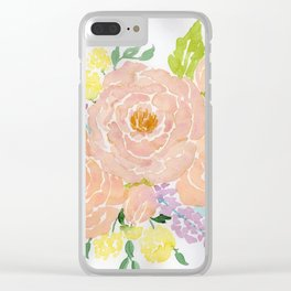 Loose Spring Floral watercolor bouquet Clear iPhone Case