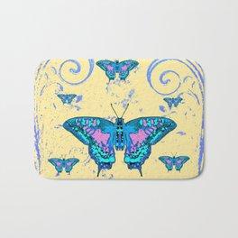ORNATE BLUE BUTTERFLIES SCROLL DESIGNS  ART Bath Mat