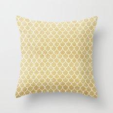 Mermaid Tail Pattern  |  Gold Glitter Throw Pillow