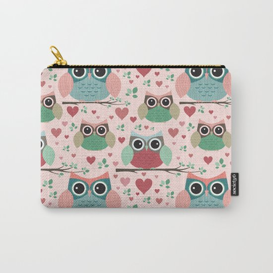 Owls in Love Pattern Carry-All Pouch