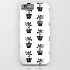 Rubber Plant linocut lino printmaking illustration black and white houseplant art decor dorm college Slim Case iPhone 6s