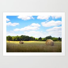 Happy Hayfield Art Print