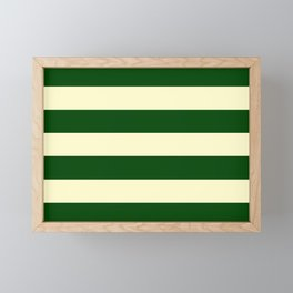Dark Emerald Green and Cream Large Stripes Framed Mini Art Print