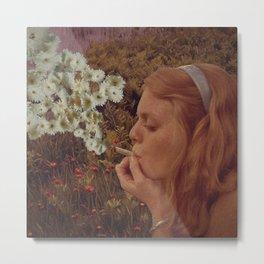 Retro 70s Flower Smoking Metal Print
