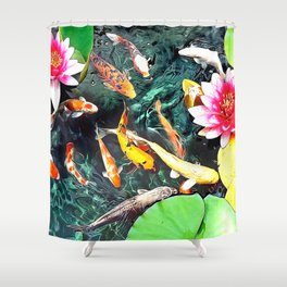Koi and Water Lilies Shower Curtain
