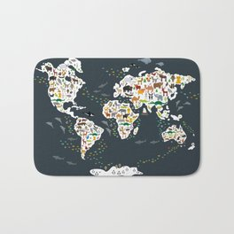 Cartoon animal world map for kids, back to schhool. Animals from all over the world Bath Mat