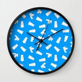 toilets on blue Wall Clock