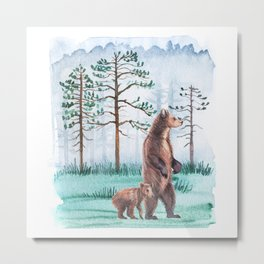 Nature landscape with a bear and a bear baby watercolor. Metal Print