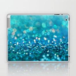 Teal turquoise blue shiny glitter print effect - Sparkle Luxury Backdrop Laptop & iPad Skin