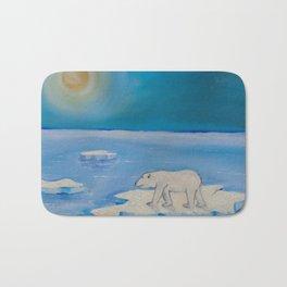 Polar Bear floating on a iceberg Bath Mat