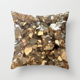 Golden Pyrite Mineral Throw Pillow