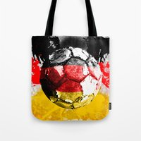 germany Tote Bags featuring  football germany by seb mcnulty