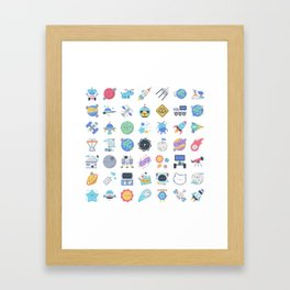 CUTE OUTER SPACE / SCIENCE / GALAXY PATTERN Framed Art Print