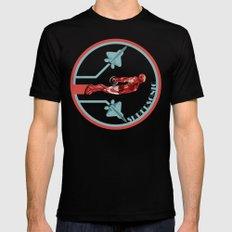 iron man and F22 raptor  Mens Fitted Tee Black MEDIUM