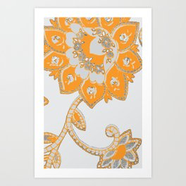 vintage paisley orange/grey Art Print