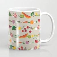 vegetarian Mugs featuring Vegetarian pattern by Darish