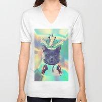 saga V-neck T-shirts featuring galactic Cats Saga 3 by Carolina Nino