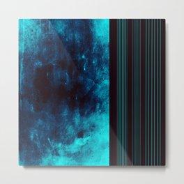 Vibrant Distressed Aqua w/Stripes on Black Back Metal Print
