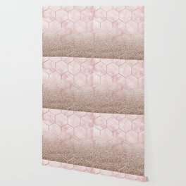 Glitter ombre hex - cloudy pink marble & rose gold glitter Wallpaper