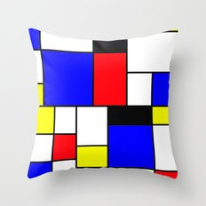 Red Blue Yellow Geometric Squares Throw Pillow