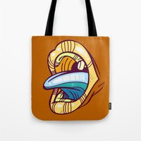 mouth Tote Bags featuring Mouth by Artistic Dyslexia