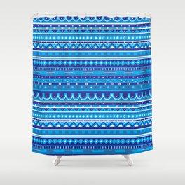 Blue Striped Mercury Leggings Shower Curtain