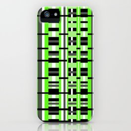 Plaid in Lime Green, Black & Gray iPhone Case