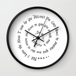 Hope in Christ Jeremiah 29:11 - printed in grey Wall Clock