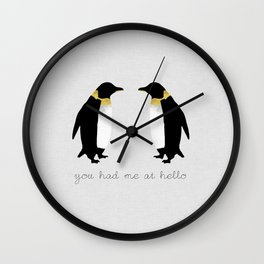 You Had Me At Hello, Penguin Quote, Couples Gift Wall Clock
