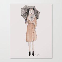 Polka dot umbrella Canvas Print