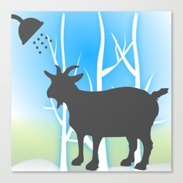 Funny Goat Shower Curtains Canvas Print