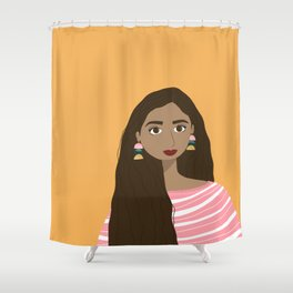 Aubree | Female Digital Illustration Art Print Shower Curtain