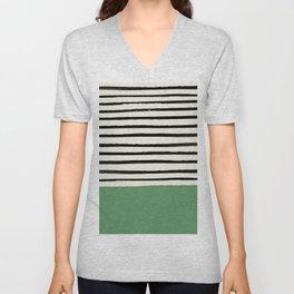 Moss Green x Stripes Unisex V-Neck