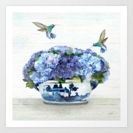 Hummingbirds in Hydrangea Art Print