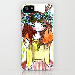 Girl and fox iPhone Case
