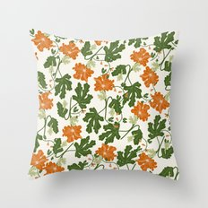 Orange Vintage Flower Pattern Throw Pillow